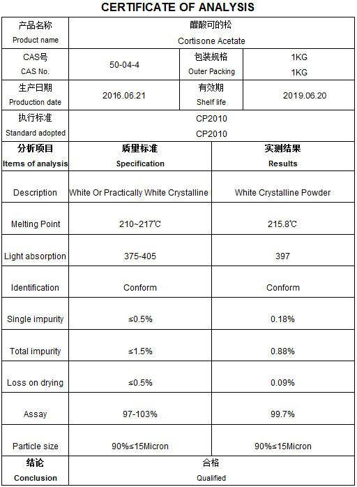Anti-Allergic Agents Cortisone Acetate Steroids Powder CAS 50-04-4 for Allergic Conjunctivitis
